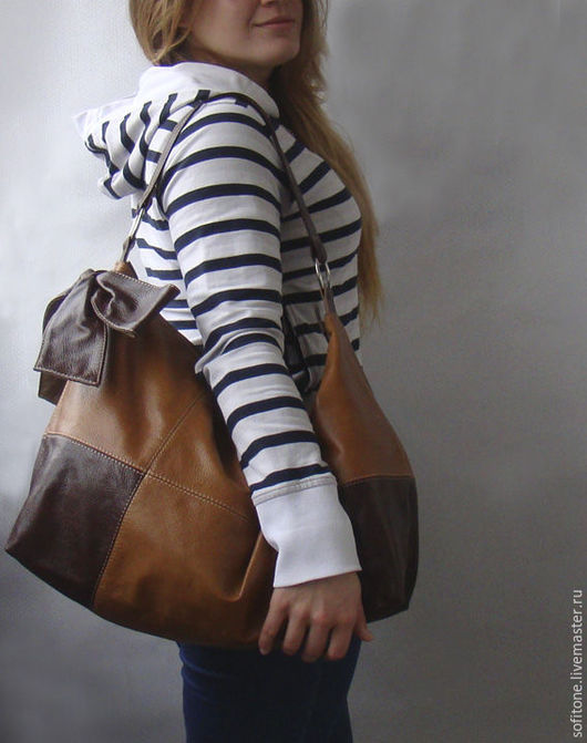 Женские сумки ручной работы. Ярмарка Мастеров - ручная работа. Купить Большая сумка с бантом цвет Песочный с коричневым. Handmade.