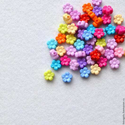 """Шитье ручной работы. Ярмарка Мастеров - ручная работа. Купить Набор бусин """"Мелкий цветочек"""" (10шт/упак). Handmade. Разноцветный, бусины"""