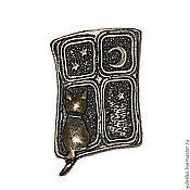 """Украшения ручной работы. Ярмарка Мастеров - ручная работа Брошь """"Кошка в окошке"""": покрытие бронза. Handmade."""