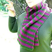 Аксессуары ручной работы. Ярмарка Мастеров - ручная работа Вязаный полосатый шарф Фредди (беби альпака, меринос, зелёный, фуксия). Handmade.