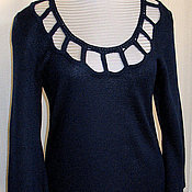 Одежда ручной работы. Ярмарка Мастеров - ручная работа Топ Туника ( шерсть,акрил)  тёмно-синая вязанная. Handmade.