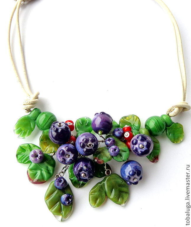Necklace lampwork Blueberry mood, Necklace, St. Petersburg,  Фото №1