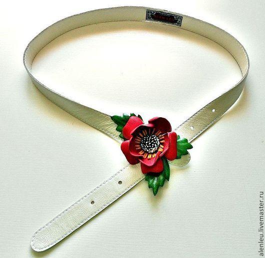 """Пояса, ремни ручной работы. Ярмарка Мастеров - ручная работа. Купить """" Цветок на память"""" кожаный ремень с цветком. Handmade."""