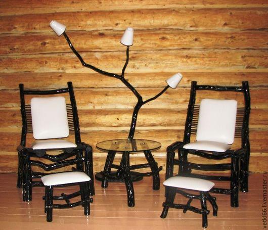Мебель ручной работы. Ярмарка Мастеров - ручная работа. Купить Комплект мебели для отдыха из сосновых веток. Handmade. Чёрно-белый