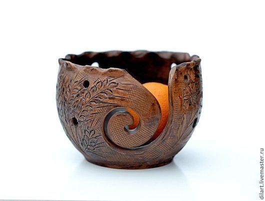 клубочница Керамика Dilь_art чаша для вязания подарок вязальщице подарок рукодельнице русский стиль спицы для вязания авторская ваза шерсть шерстяная нить шерсть для ручного вязания нитки для вязания