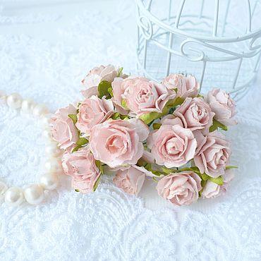 Цветы и флористика ручной работы. Ярмарка Мастеров - ручная работа Бумажные цветы Розово-персиковые 2 см Кудрявые розы Декор скрапбукинга. Handmade.