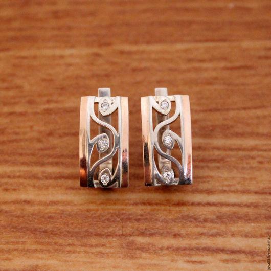 Серьги ручной работы. Ярмарка Мастеров - ручная работа. Купить Серебряные серьги Вьюнок с золотыми накладками, серебро 925. Handmade.