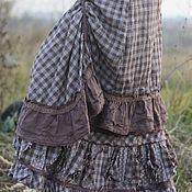 Одежда ручной работы. Ярмарка Мастеров - ручная работа 2 теплые юбки в клетку, лен с шерстью, БОХО. Handmade.