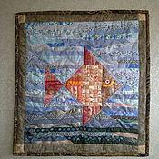 Картины и панно ручной работы. Ярмарка Мастеров - ручная работа Панно лоскутное Золотая рыбка. Handmade.