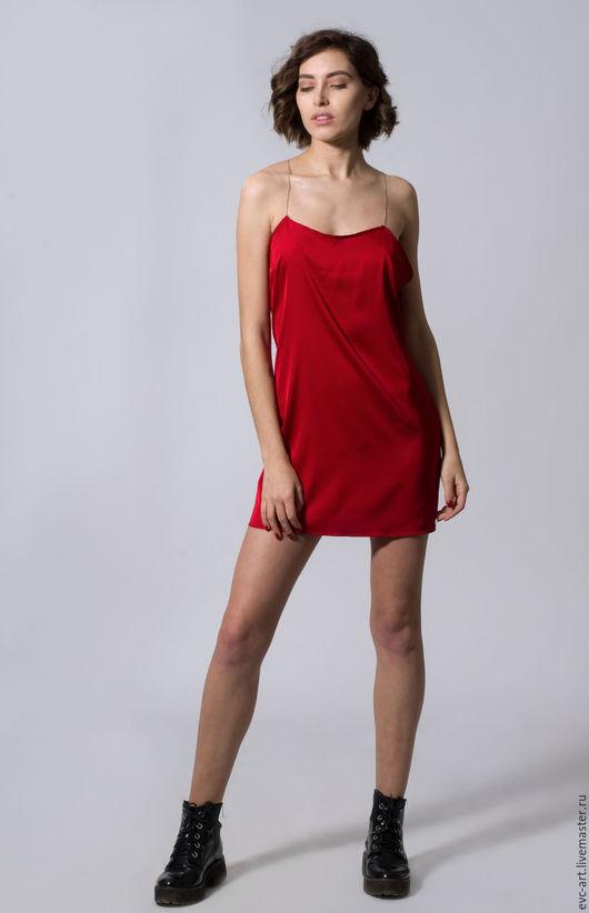 Платья ручной работы. Ярмарка Мастеров - ручная работа. Купить платье комбинация красное. Handmade. Ярко-красный, платье