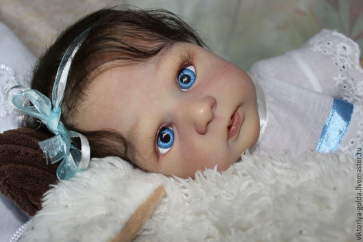 Куклы-младенцы и reborn ручной работы. Ярмарка Мастеров - ручная работа. Купить Нежная малышка Ханна. Handmade. Синий