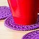 """Текстиль, ковры ручной работы. Подставки под чашки """"Черничное варенье"""". PandaStudio. Интернет-магазин Ярмарка Мастеров. Подставка, для кухни"""