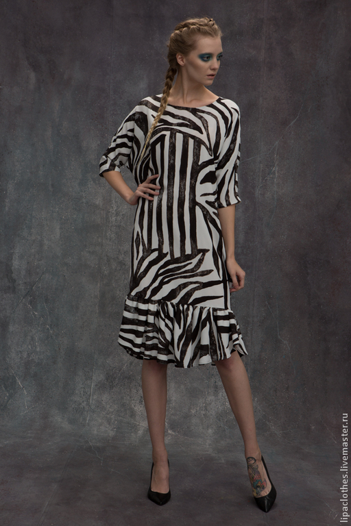 """Платья ручной работы. Ярмарка Мастеров - ручная работа. Купить Платье  LIPA """" Зебра"""" зима 15. Handmade."""