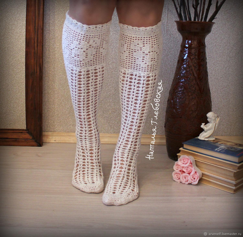Socks openwork ' white roses', Knee, Orenburg,  Фото №1
