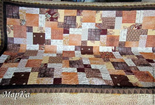 Текстиль, ковры ручной работы. Ярмарка Мастеров - ручная работа. Купить Покрывало лоскутное. Handmade. Коричневый, покрывало пэчворк