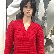 Одежда ручной работы. Ярмарка Мастеров - ручная работа Пуловер вязаный красный. Handmade.