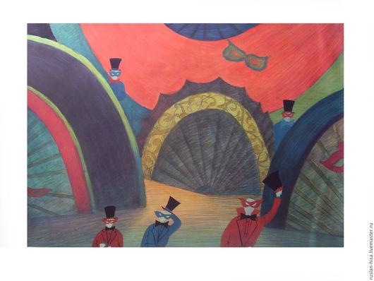 """Символизм ручной работы. Ярмарка Мастеров - ручная работа. Купить Эскизы декораций к оперетте И.Штрауса """"Летучая мышь"""". Handmade."""