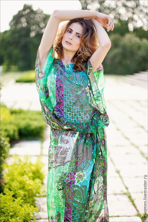 Платья ручной работы. Ярмарка Мастеров - ручная работа. Купить Платье-туника шелковое, изумрудное. Handmade. Изумрудный, туника пляжная