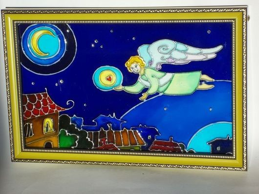 Люди, ручной работы. Ярмарка Мастеров - ручная работа. Купить Роспись по стеклу. Над городом.. Handmade. Ангел, луна