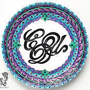 Посуда handmade. Livemaster - original item Decorative plate with a name monogram - calligraphy hand-painted. Handmade.