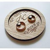 Подушечки для колец ручной работы. Ярмарка Мастеров - ручная работа Тарелочка для  колец из дерева. Handmade.