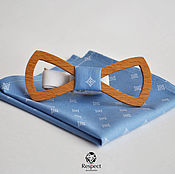 Аксессуары handmade. Livemaster - original item Wooden bow tie pocket square blue pattern Lord. Handmade.