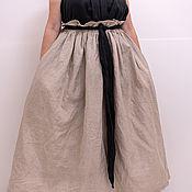 Юбки ручной работы. Ярмарка Мастеров - ручная работа Льняная макси юбка с черным поясом. Handmade.