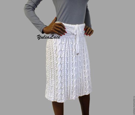 Юбки ручной работы. Ярмарка Мастеров - ручная работа. Купить Вязаная юбка белая. Handmade. Белый, юбка зимняя