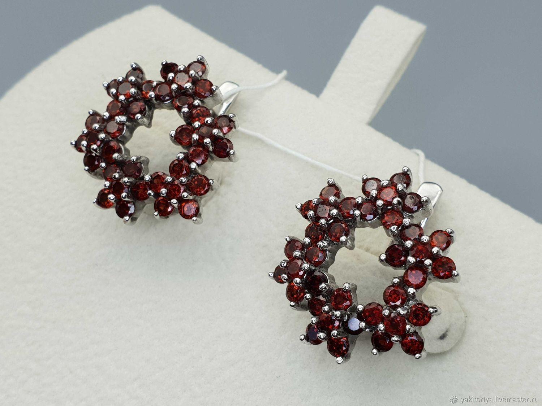 silver earrings with garnets, Earrings, Moscow,  Фото №1