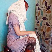 Аксессуары ручной работы. Ярмарка Мастеров - ручная работа Шарф-капюшон из полушерстяной пряжи. Handmade.