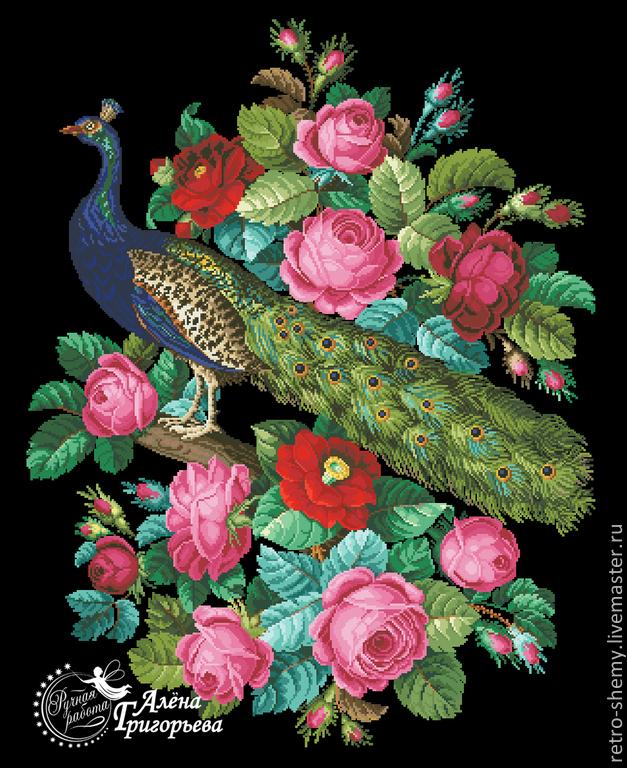 """Схема вышивки """"Павлин и розы""""."""