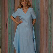 Одежда handmade. Livemaster - original item Blue linen dress, Hope. Handmade.