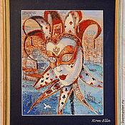 """Картины и панно ручной работы. Ярмарка Мастеров - ручная работа Вышитая картина""""Венецианская маска"""" по картине Алекса Левина. Handmade."""