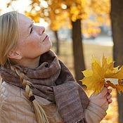 Аксессуары ручной работы. Ярмарка Мастеров - ручная работа Шарф-палантин домотканый Autumn & brown 2. Handmade.