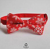 handmade. Livemaster - original item Tie Christmas snowflakes / red butterfly tie. Handmade.