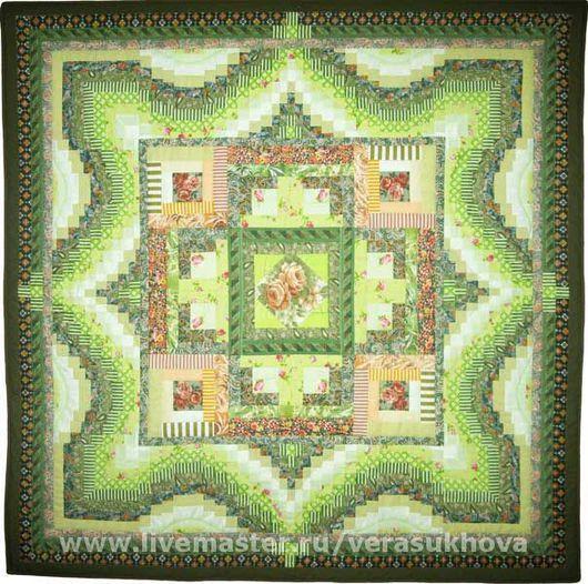 """Текстиль, ковры ручной работы. Ярмарка Мастеров - ручная работа. Купить Одеяло """"Первая зелень"""" 200х200см. Handmade. Лоскутное одеяло"""