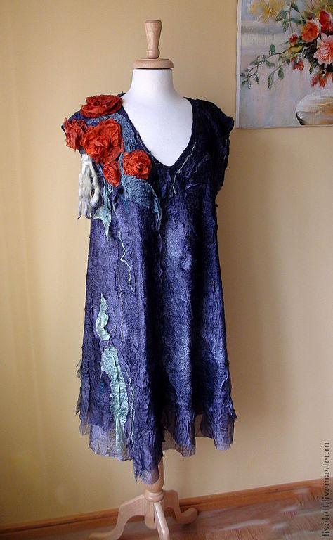 """Платья ручной работы. Ярмарка Мастеров - ручная работа. Купить """" Дымчатый """" Валяное платье или сарафан. Handmade."""