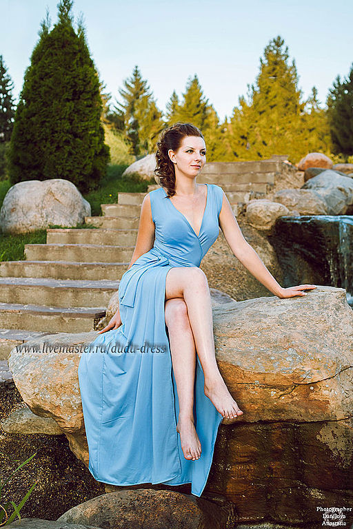 Платья ручной работы. Ярмарка Мастеров - ручная работа. Купить Платье-халатик небесно-голубое. Handmade. Голубой, небесно-голубой