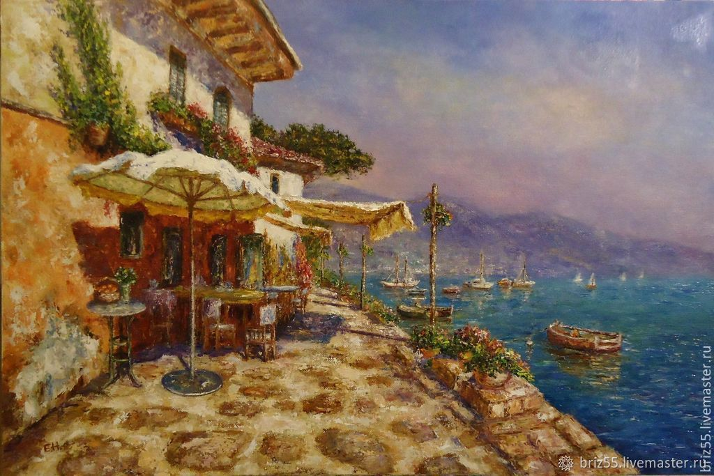Oil painting cafe on the waterfront, Pictures, Zelenograd,  Фото №1