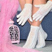 Сувениры и подарки handmade. Livemaster - original item Christmas gifts: NEW!  Openwork down set socks and gloves. Handmade.