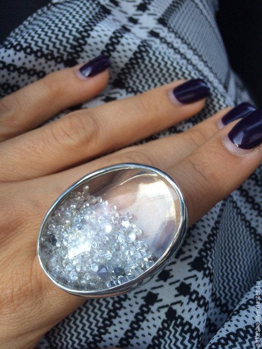 Кольцо серебряное большое красивое кольцо кольцо с фианитом кольцо ручной работы кольцо из серебра