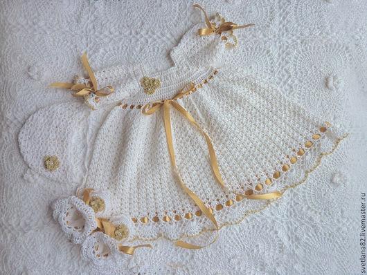 """Крестильные принадлежности ручной работы. Ярмарка Мастеров - ручная работа. Купить Крестильное платье """"Мое золотко"""". Handmade. Белый, для кещения"""