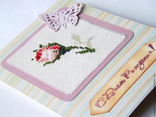 """Открытки на день рождения ручной работы. Ярмарка Мастеров - ручная работа. Купить Вышитая открытка """"Утренняя роза"""". Handmade."""