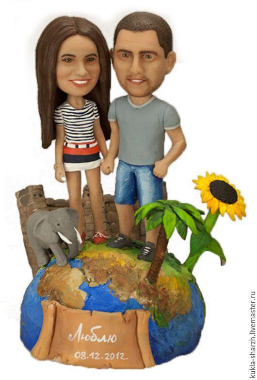 Подарки для влюбленных ручной работы. Ярмарка Мастеров - ручная работа. Купить Статуэтка кукла-шарж по фото паре«вокруг света». Handmade.