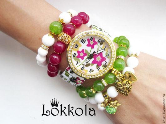 Браслеты ручной работы. Ярмарка Мастеров - ручная работа. Купить Цветочные часы. Handmade. Часы женские, браслеты, ягодный, цветы