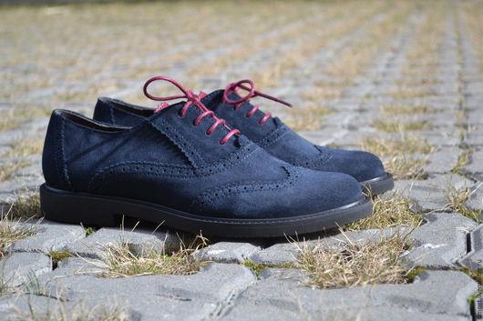 Обувь ручной работы. Ярмарка Мастеров - ручная работа. Купить Оксфорд замшевый темно-синий с темно-красным язычком. Handmade.