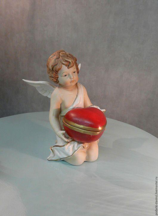 """Шкатулки ручной работы. Ярмарка Мастеров - ручная работа. Купить Шкатулка """"Сердце Ангела"""", фарфор, роспись. Handmade. Ярко-красный"""