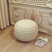 Для дома и интерьера handmade. Livemaster - original item Interior elements: knitted ottoman made of beige polyester cord. Handmade.