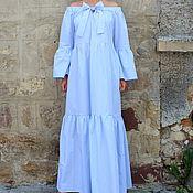 Одежда ручной работы. Ярмарка Мастеров - ручная работа Голубое летнее длинное макси бохо платье ручной работы. Handmade.