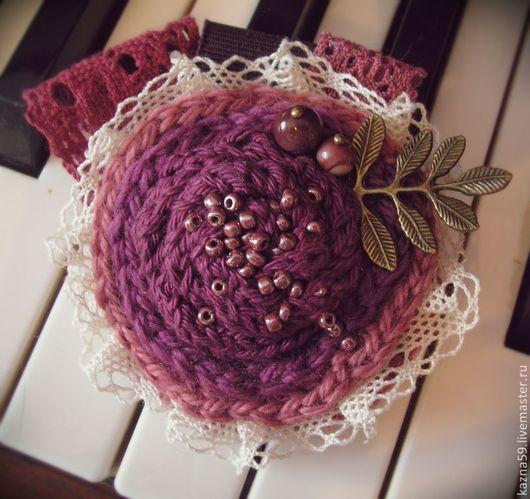 """Броши ручной работы. Ярмарка Мастеров - ручная работа. Купить Брошь """"Закат"""". Handmade. Розовый цвет, вязанный цветок, брошь"""